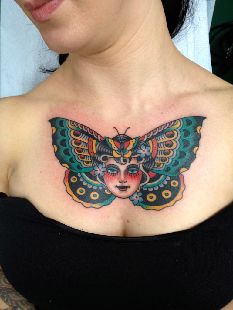 Neotraditional Butterfly Tattoo