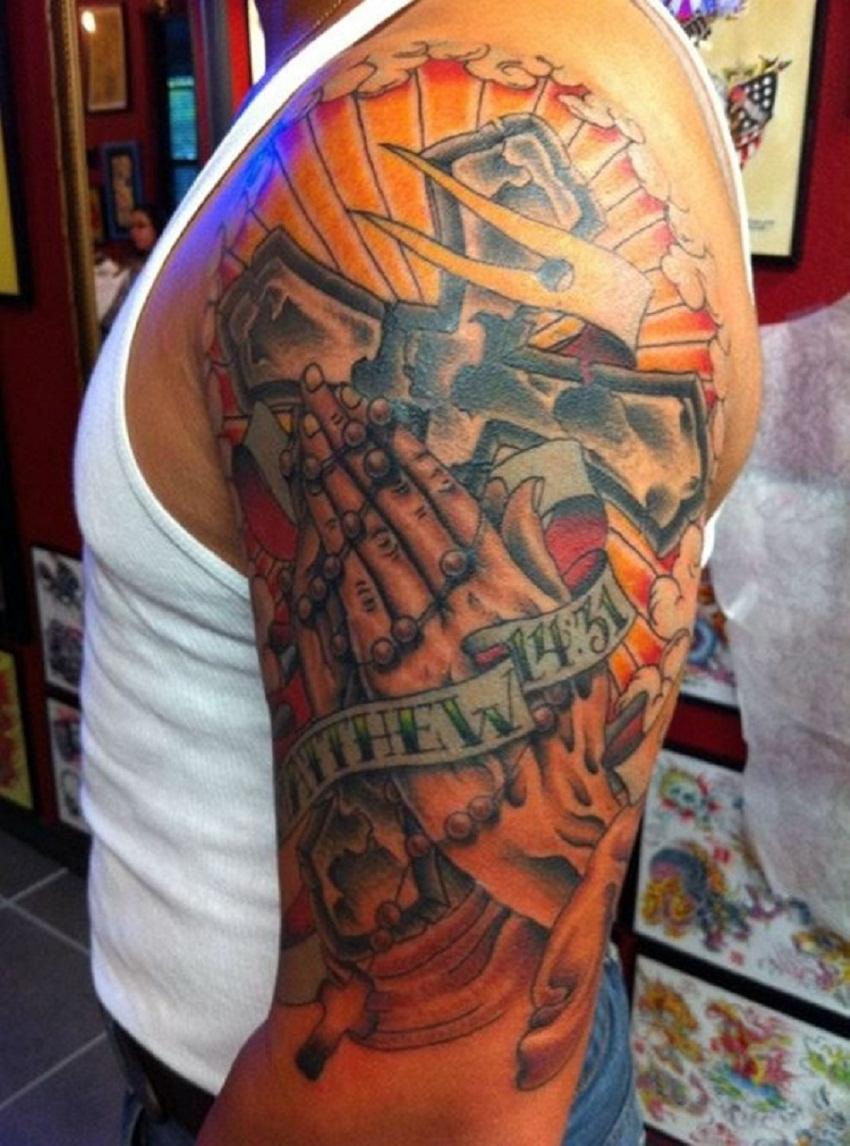 praying hands tattoo scripture