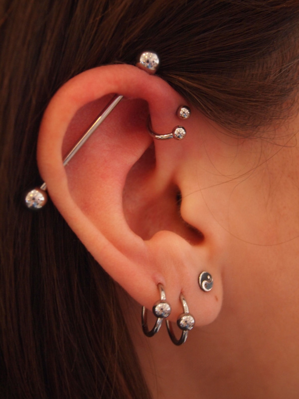 female industrial piercing