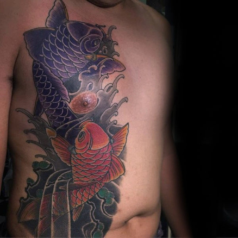 pisces tattoo chest men