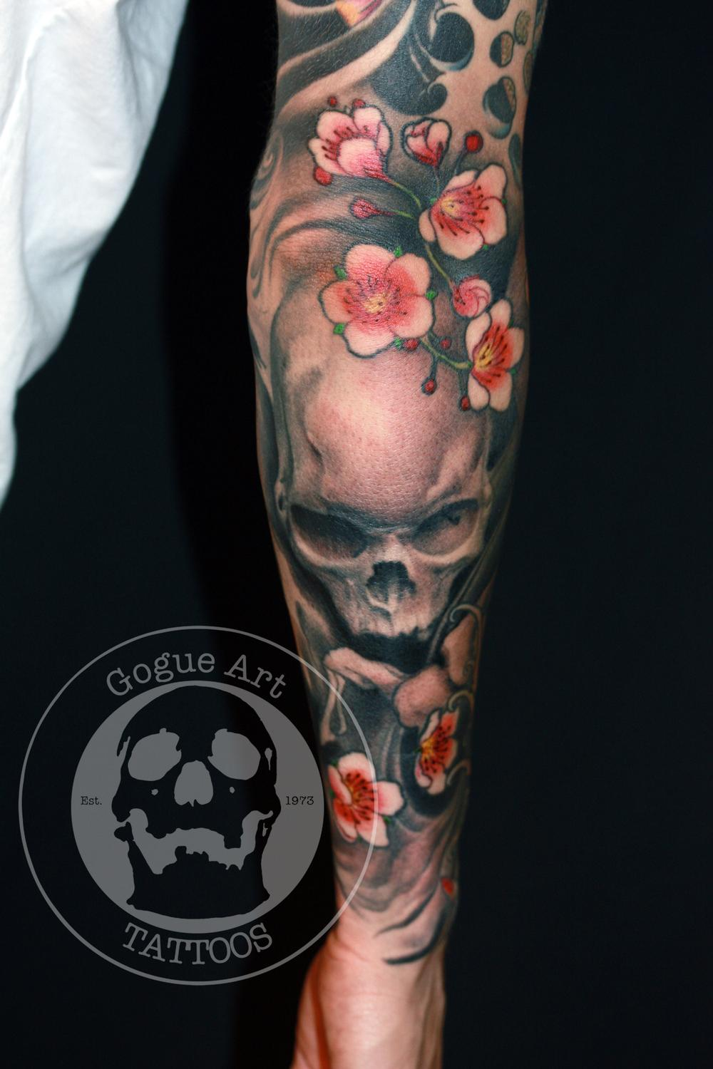 cherry blossom tattoo with skull