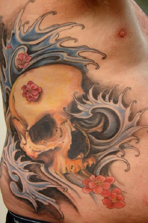 cherry blossom with skull