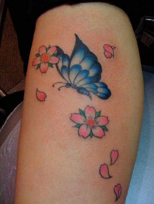cheery blossom tattoo with butterfly