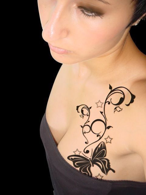 Butterfly Tattoo Chest 1