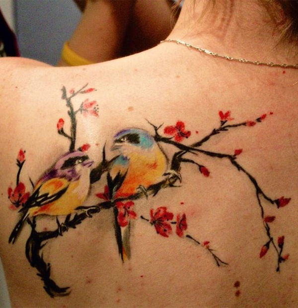 cherry blossom tattoo with birds