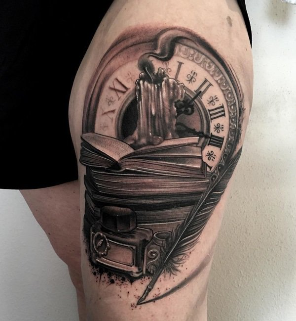 clock with feather tattoo