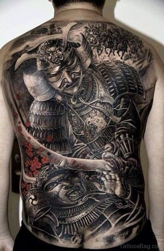 cherry blossom tattoo with samurai