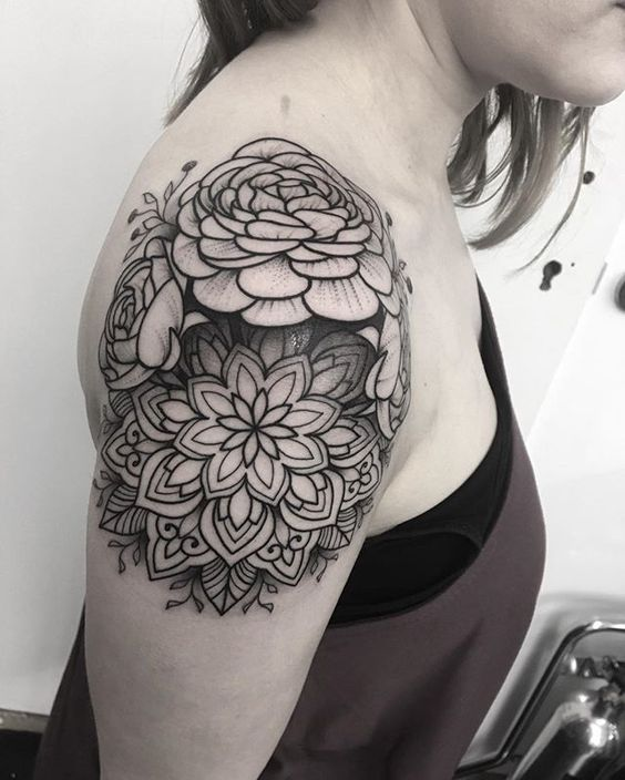 shoulder peony tattoo