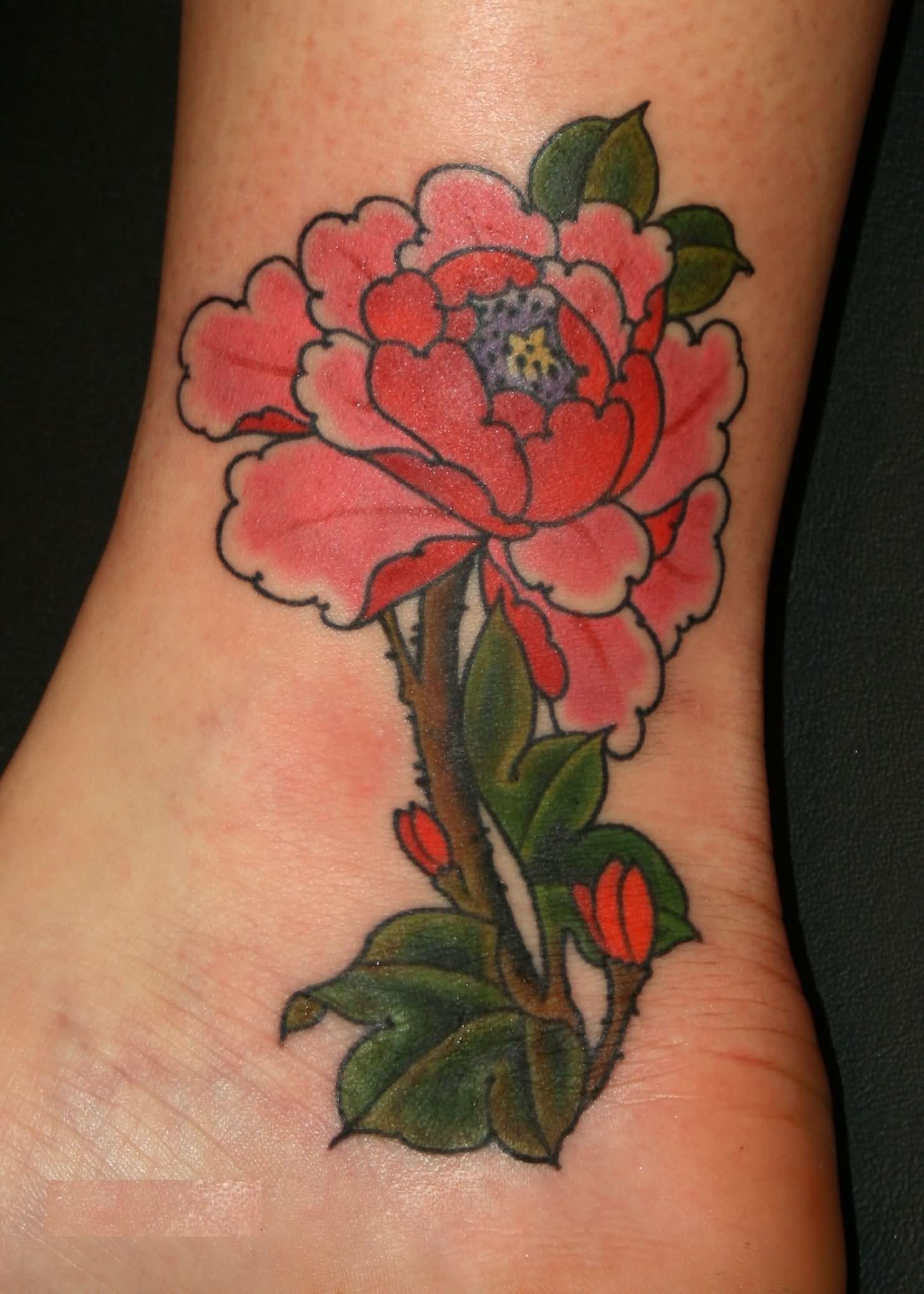 ankle peony tattoo