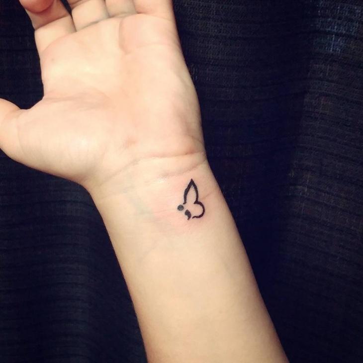 semicolon hand tattoo women