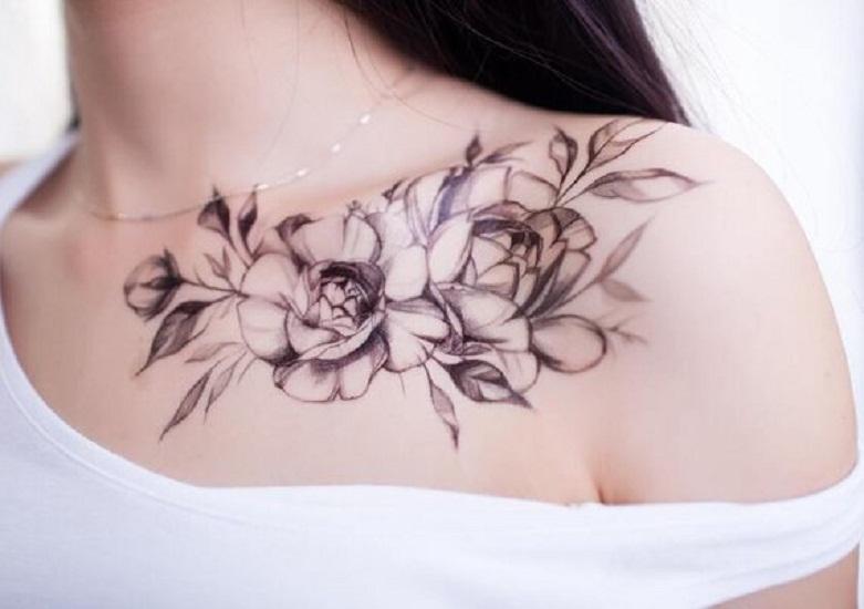 collarbone peony tattoo