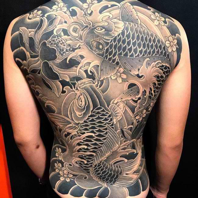 black koi fish tattoo