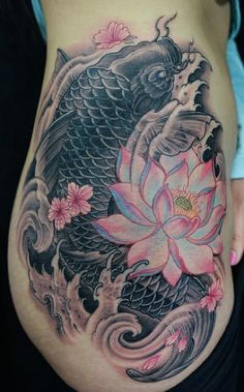 lotus with koi fish tattoo