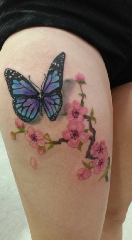 butterfly tattoo with cherry blossom