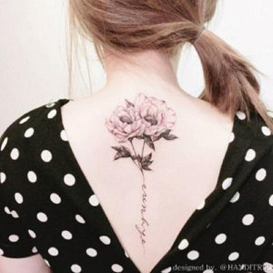 back peony tattoo