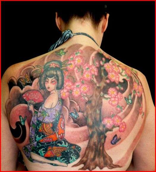 cherry blossom with geisha