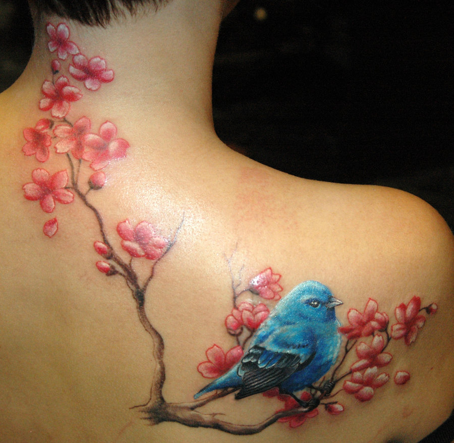 cherry blossom tattoo with bird