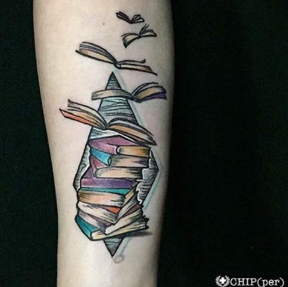 book tattoo inner forearm