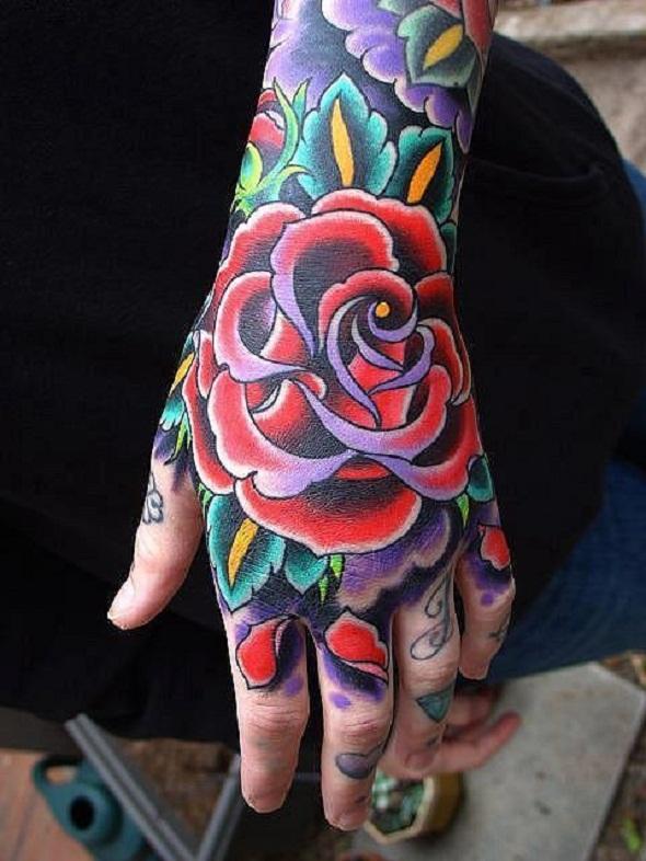 rose hand tattoo women