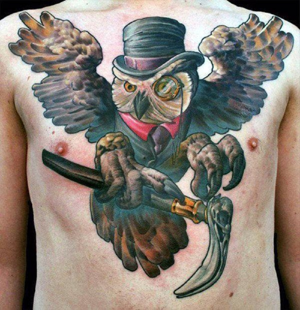 owl tattoo spread wings