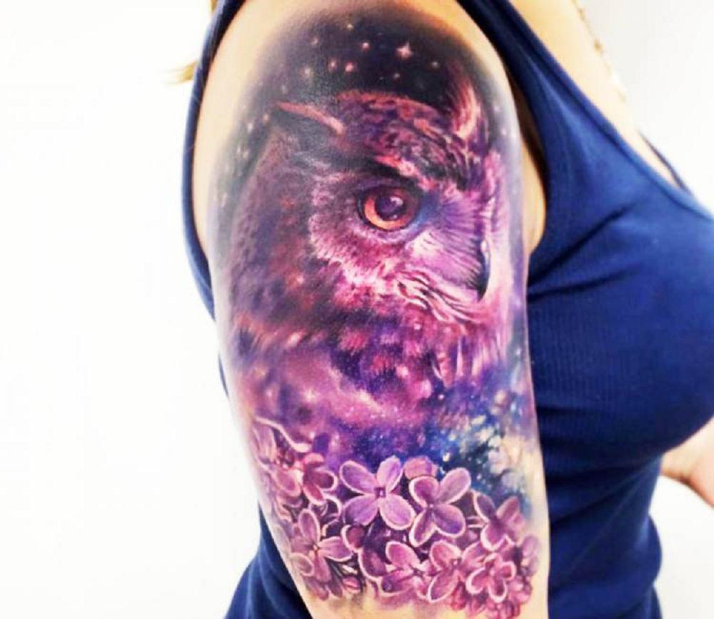 owl tattoo purple