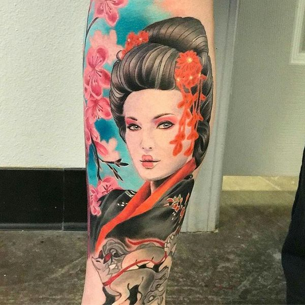 cherry blossom tattoo with geisha