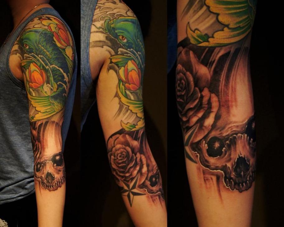 koi fish tattoo with skull