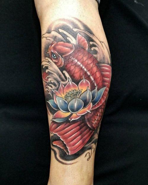 koi fish tattoo with flower