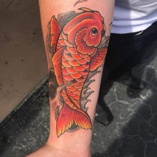 koi fish tattoo with wave