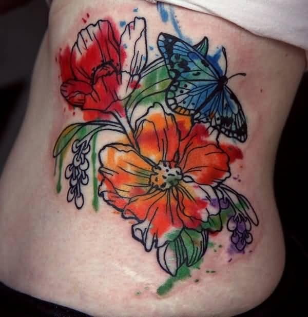 rib peony tattoo
