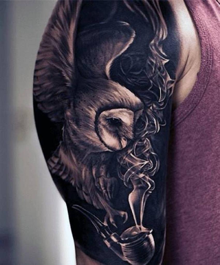 owl tattoo spread wings