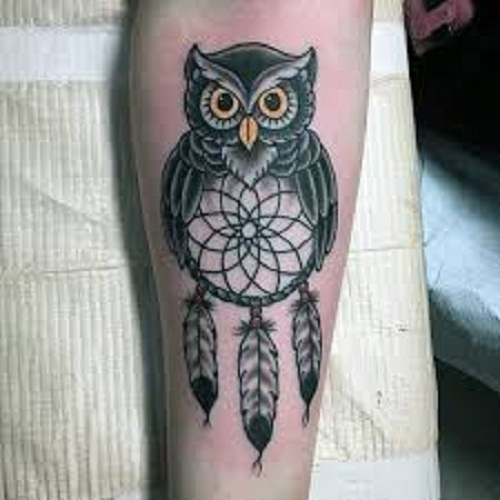 dreamcatcher with feather tattoo