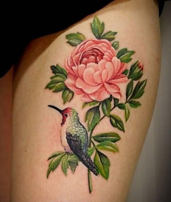thigh peony tattoo