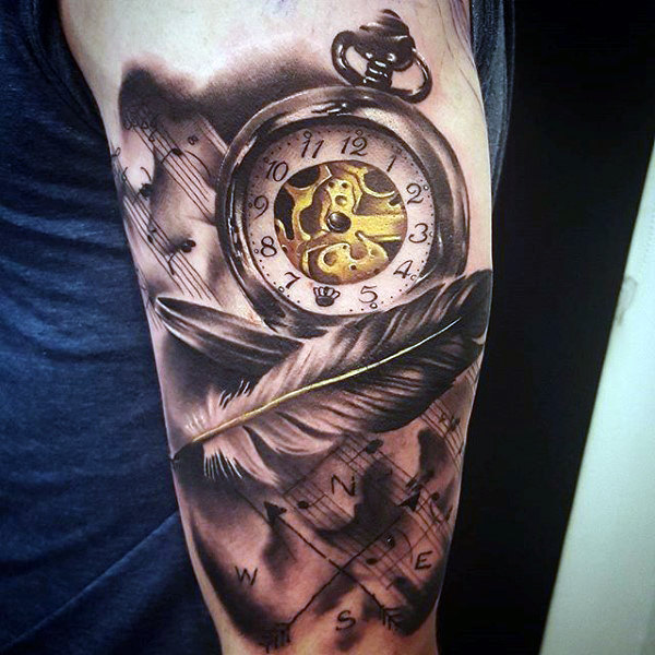 clock and feather tattoo