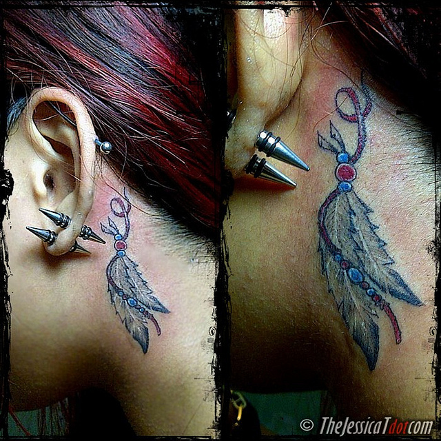 feather tattoo with beads
