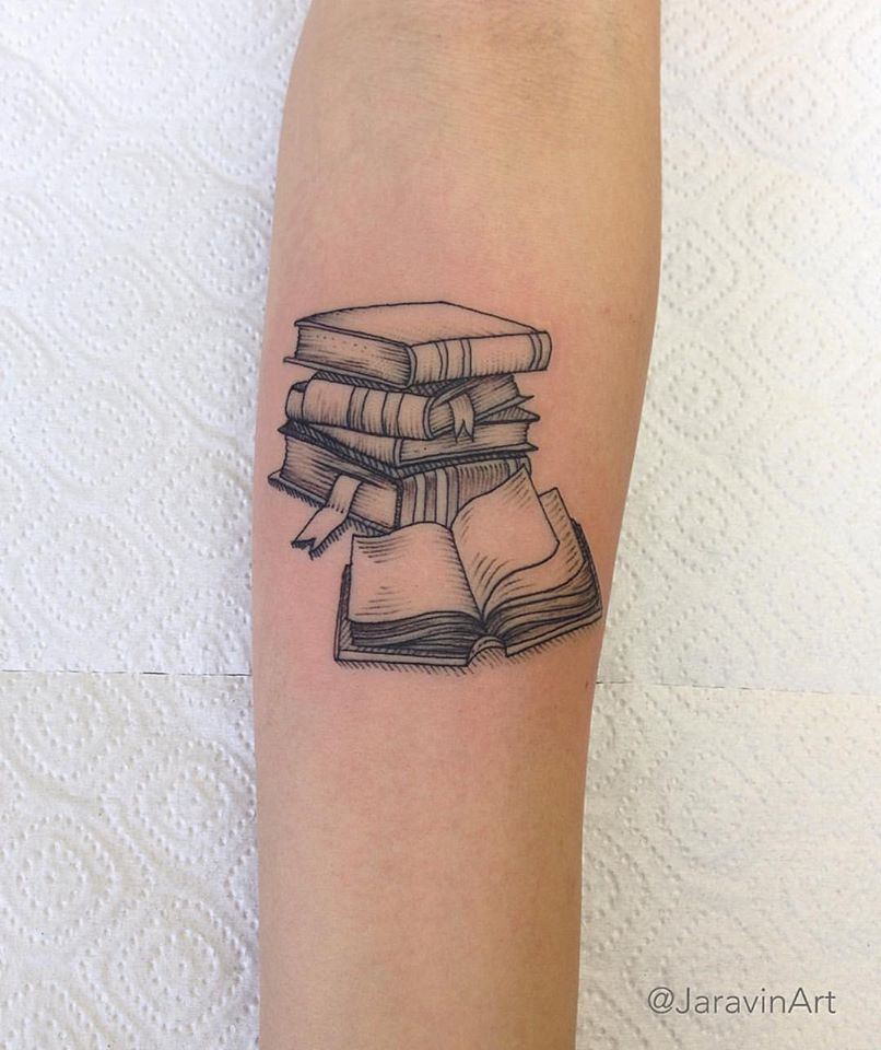 book tattoo inner forearm