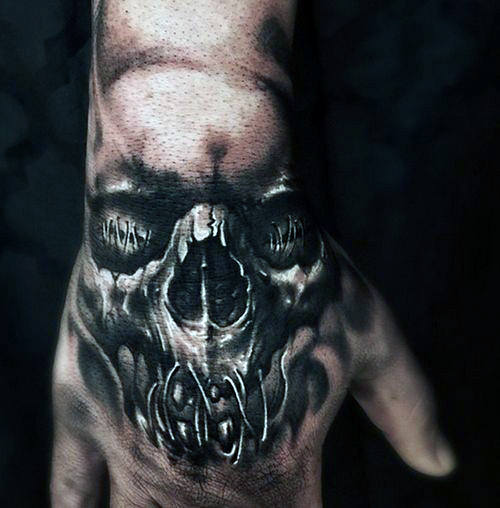 skull hand 3d tattoo men