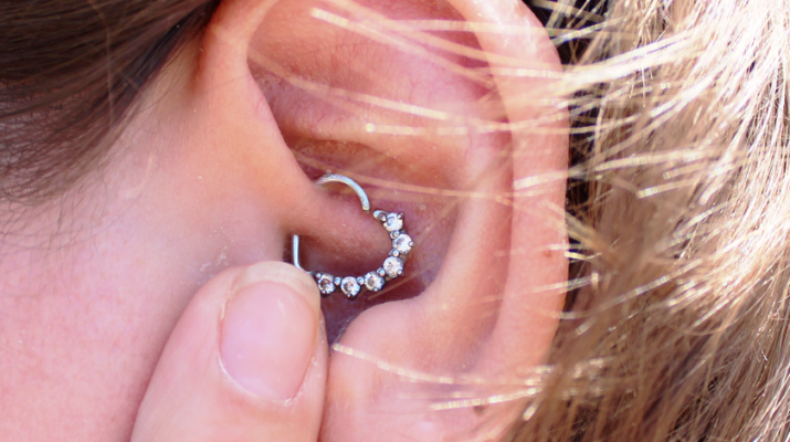 studded heart earring