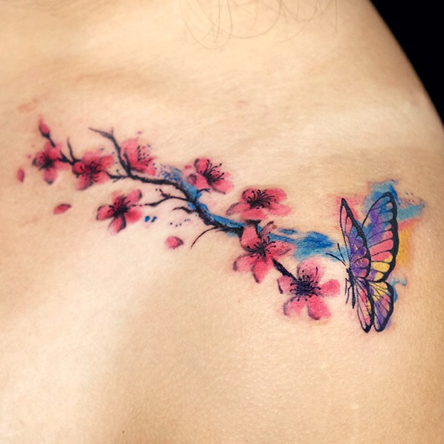 21c8c0621 50+ Cherry Blossom Tattoo Ideas That Can Go Along with Any Design ...