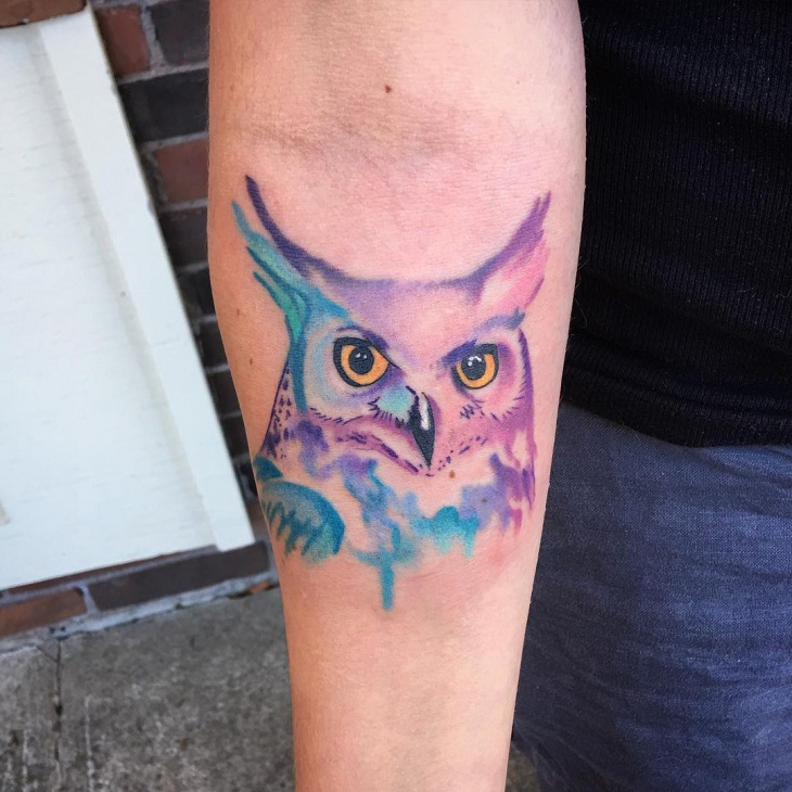 owl tattoo purple