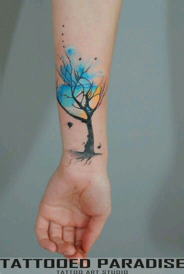 watercolor tattoo wrist 3