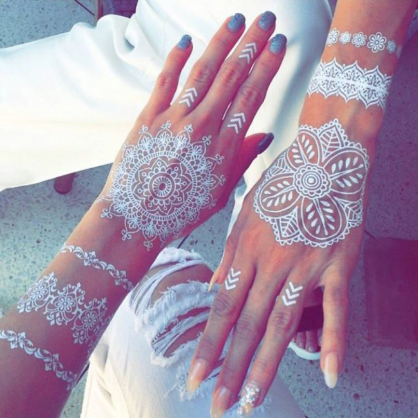 mehndi hand tattoo women