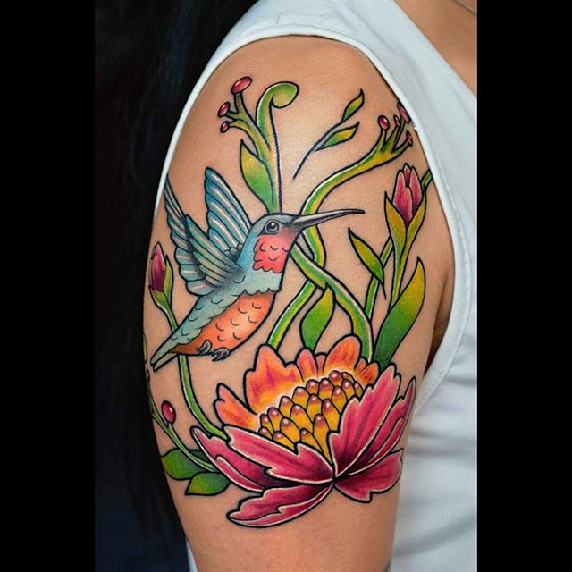 hummingbird tattoo with flower