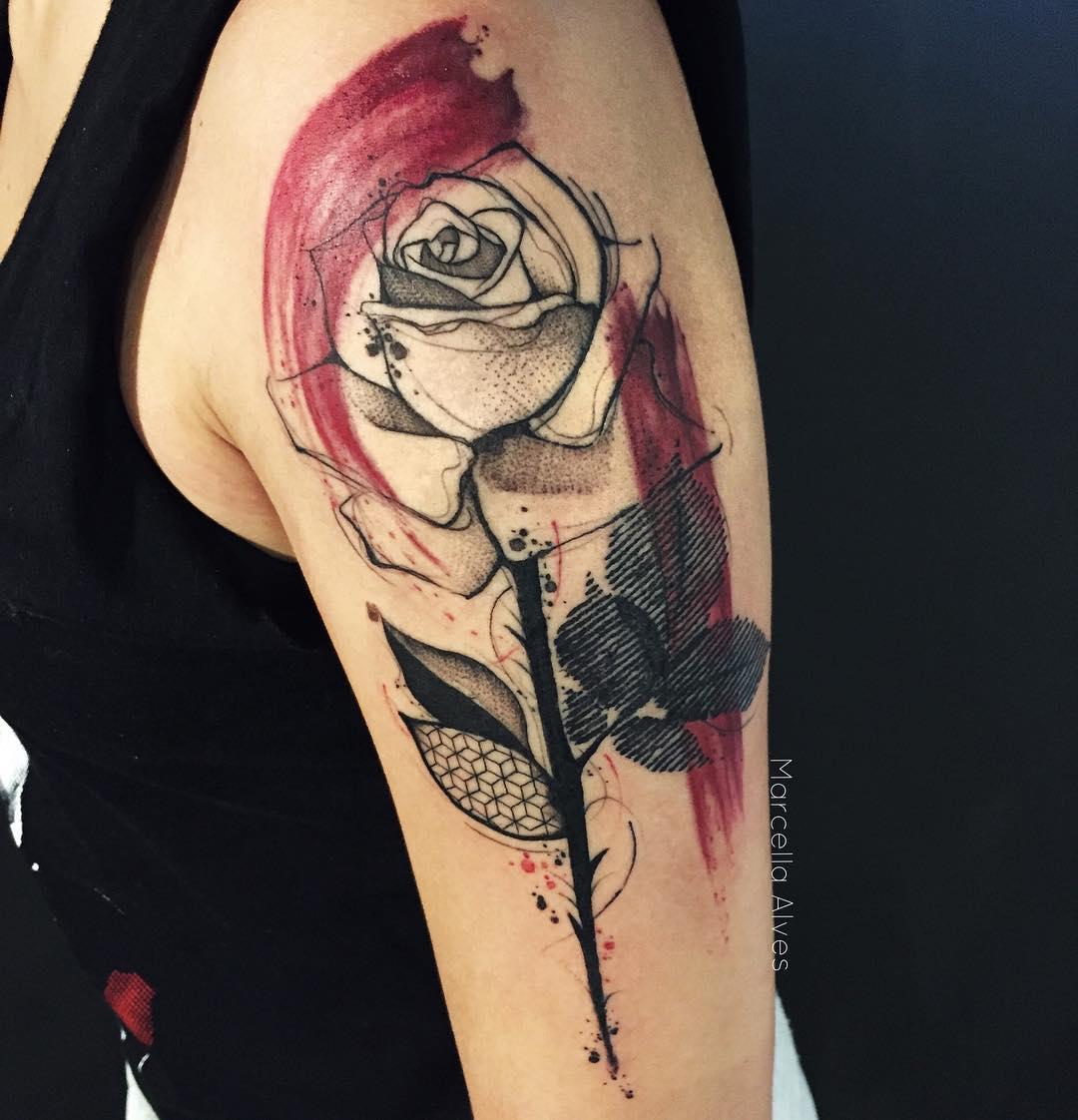trash polka shoulder tattoo
