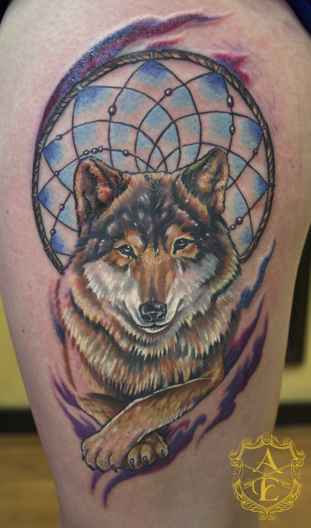 dream catcher tattoo leg