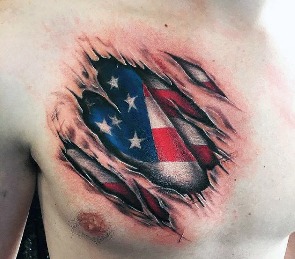 3D American Flag Tattoo 5