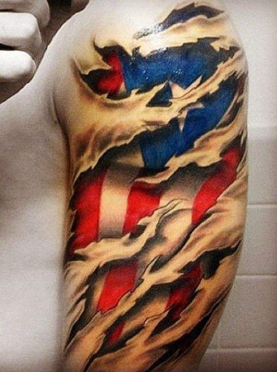 3D American Flag Tattoo 8