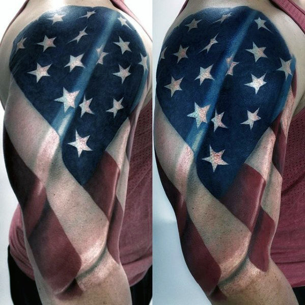 3D American Flag Tattoo 9