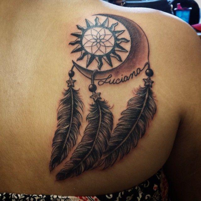dream catcher tattoo back
