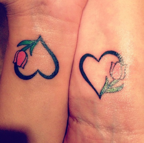 mother daughter heart tattoos